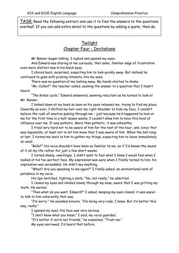 Twilight Comprehension Practice