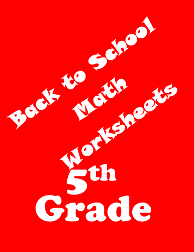 Back to School Math Worksheets-5th Grade
