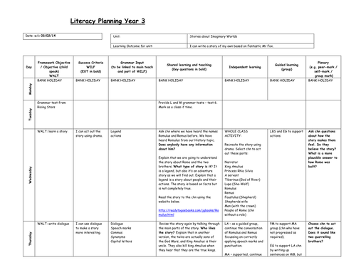 Year 3 literacy english planning - stories - new curriculum 2014-2015