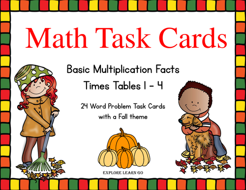 Fall Math Task Cards  Multiplication Facts / Times Tables 1- 4