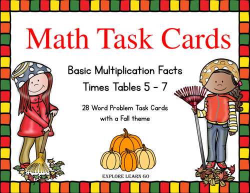 Fall Math Task Cards Multiplication Facts / Times Tables 5 - 7