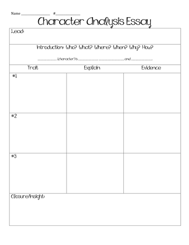 Character Analysis Essay Graphic Organizer