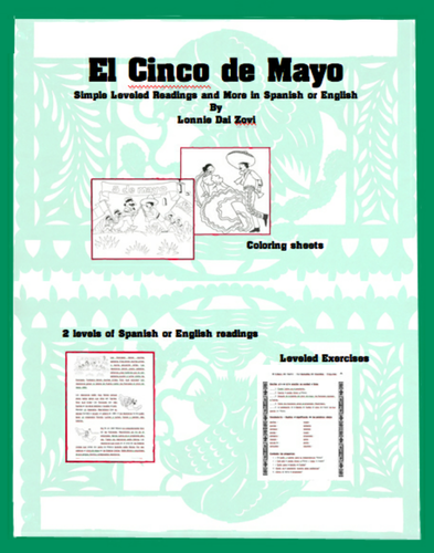 Cinco de Mayo Leveled Readings, Worksheets and Colouring in Spanish and English