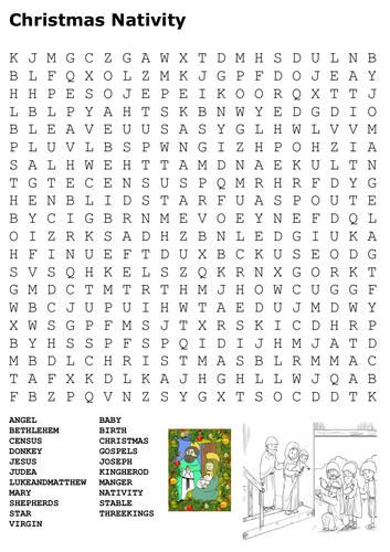 christmas nativity word search and color by sfy773 teaching resources tes