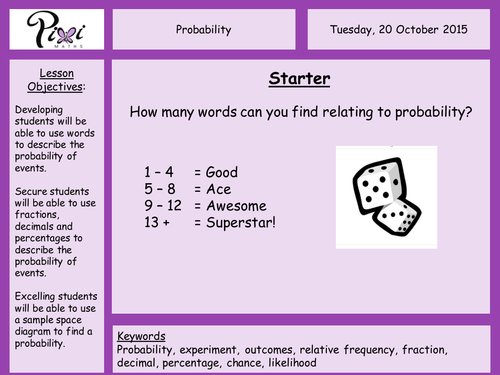 Worksheets Sample Space Worksheet probability scales mutual exclusivity exhaustive events and sample space diagrams by piximaths teaching resources tes