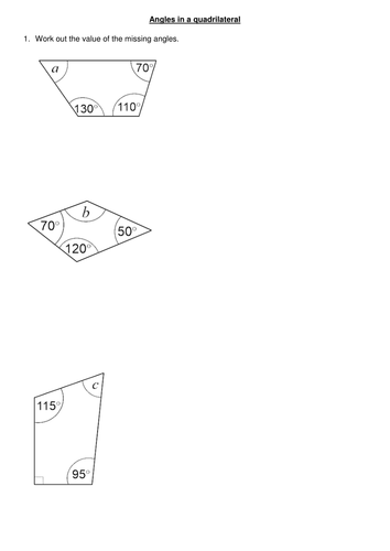Angles In A Quadrilateral By Mariomonte40 Teaching Resources Tes