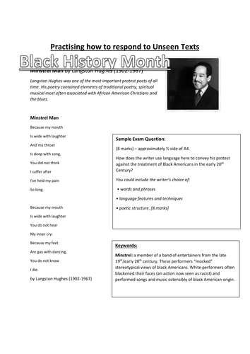 black history month gcse english unseen poetry analysis by jigglemama teaching resources. Black Bedroom Furniture Sets. Home Design Ideas