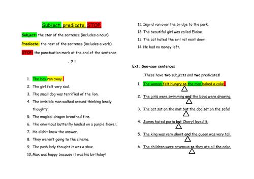Rainbow Grammar - Subject predicate stop highlight