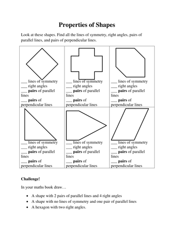Drawing Parallel Lines With Triangles : Properties of shapes ks worksheet by helenfharvey