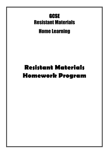 RESISTANT MATERIALS HOME LEARNING PACK