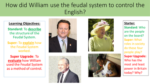 How did William use the feudal system to control the English?