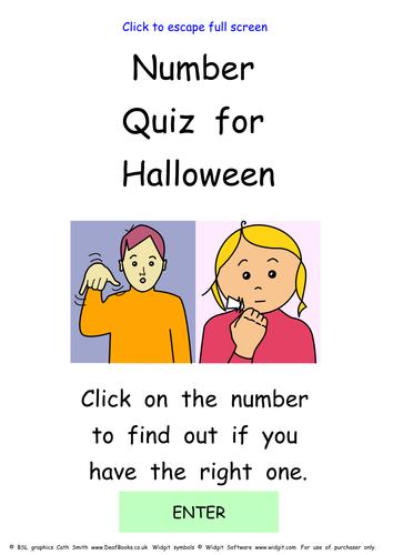 Halloween Interactive number Quiz with BSL Signs & Widgit pictures