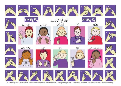 British Sign Language (BSL) Greetings Signs & Fingerspelling Alphabet with Urdu translated wording.