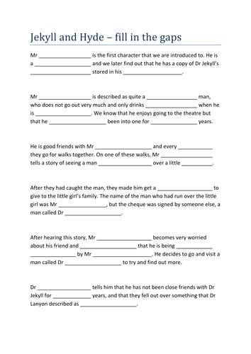 Jekyll and Hyde Chapter 2 - Analysis, language, summaries, self starters, activities