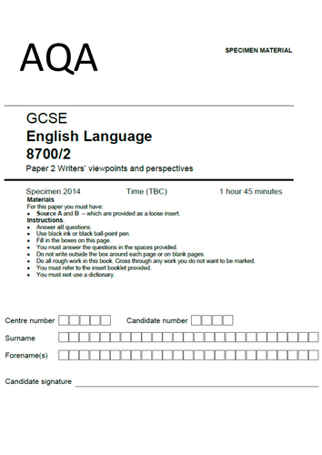 NEW teacher-written exam paper: AQA English Language Paper 2 Writers' viewpoints and perspectives