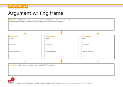 Storytelling Argument Writing Frame Worksheet By