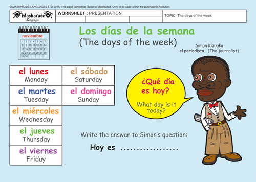SPANISH-AT-SCHOOL-Y3-Y4: The days of the week