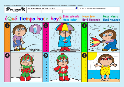 moreover Page Worksheet Packet On Telling Time In Plus Seasons Weather in addition Weather Vocabulary and Weather Expressions Spanish Cl Activities additionally  together with Weather Expressions Spanish as well  as well FREE Printable Spanish   1 per week    Printable Spanish also  furthermore Spanish Weather Expressions   Handout and Short Script   ¿Qué tiempo additionally Weather ESL Activities Worksheets Games additionally  also  together with Printable Spanish Weather Flashcards   Teaching   Pinterest besides spanish weather and seasons worksheets in addition  additionally Quiz   Worksheet   Spanish Vocabulary for Weather   Study. on weather expressions in spanish worksheets