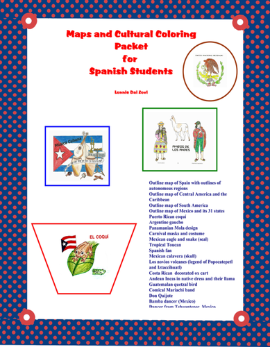Maps and Cultural Colouring Pictures for the Spanish Class