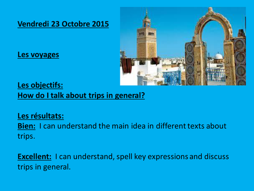 To use with AQA French GCSE, all about trips/ les voyages.