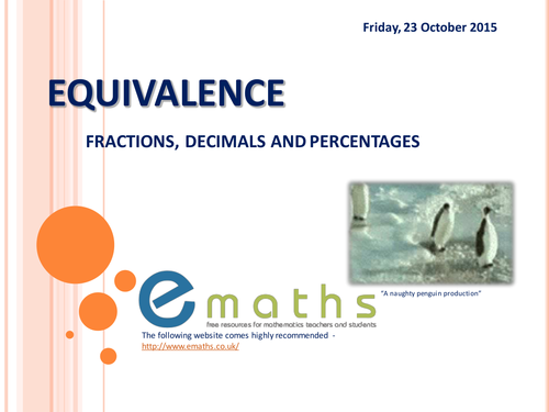 Fractions to Decimals to Percentages