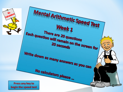 Mental Arithmetic Tests - Bundle containing Weeks 1 - 6