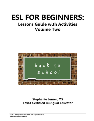 ESL for Beginners Lessons Guide with Activities: Volume Two