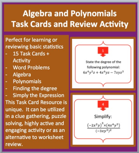 Algebra And Polynomials Task Cards And Unique Activity By