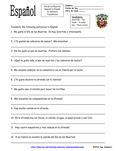 Spanish Day of the Dead / Dia de los Muertos Sentences Homework by ...