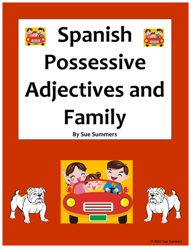 Worksheets Possessive Adjectives Spanish Worksheet spanish possessive adjectives and family worksheet by suesummersshop teaching resources tes