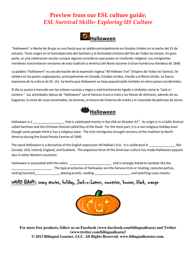 ESL Halloween Reading Passage