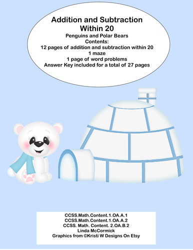 Math Addition & Subtraction Within 20 Worksheets- Penguins ...