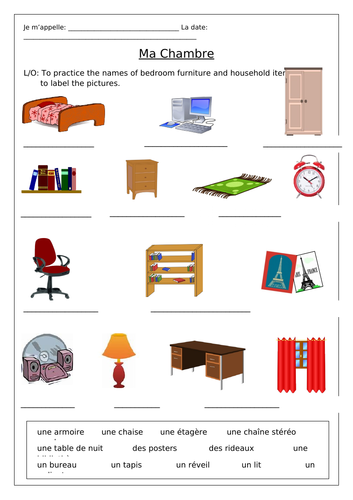 french my bedroom ma chambre worksheets teaching. Black Bedroom Furniture Sets. Home Design Ideas