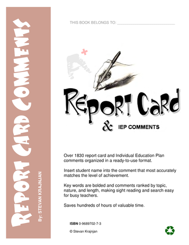 1,850 REPORT CARD COMMENTS for TEACHERS