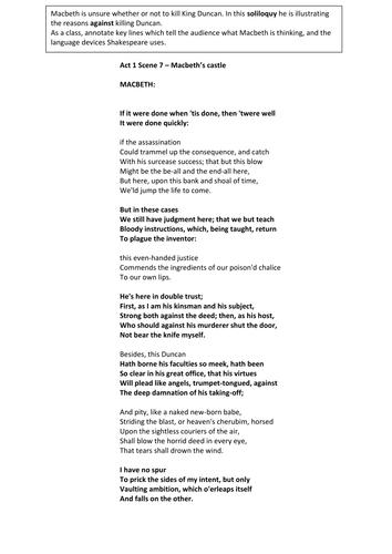 Act 1 Comparison Worksheet On Macbeth - act 1 comparison worksheet ...