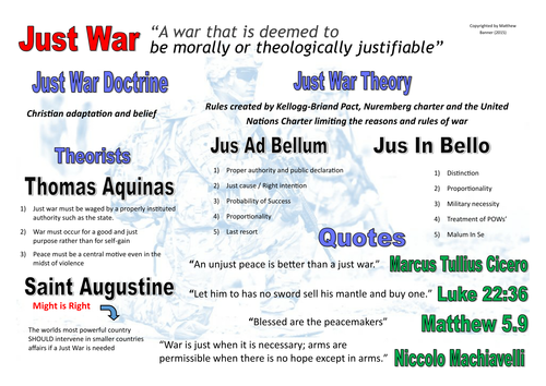 Just War - Religious Studies/ History Revision Mat