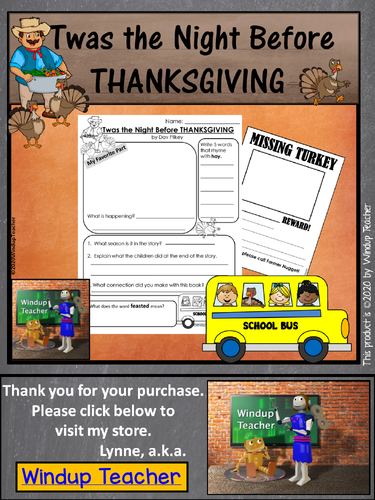 twas the night before thanksgiving writing activity for kindergarten