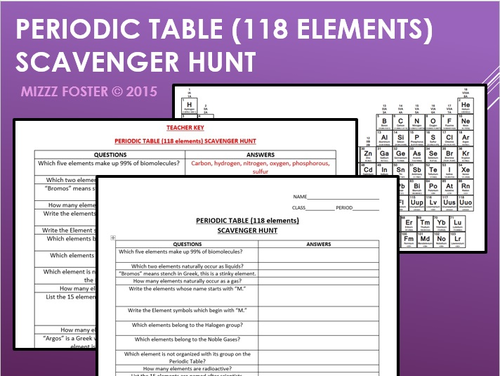 Periodic Table (118 elements) Scavenger Hunt Secondary Science by ...