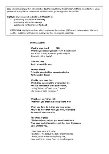 macbeth act scene lady macbeth s key lines by nikihb macbeth act 1 scene 7 lady macbeth s key lines by nikihb teaching resources tes