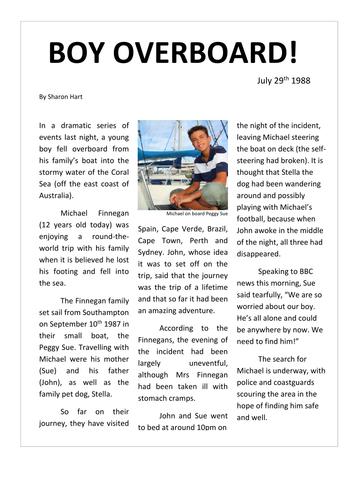Writing a newspaper article ks2 english.