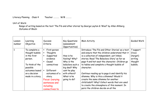 Literacy Ks2 Unit Plan 23 Lessons The Fib By George Layton And