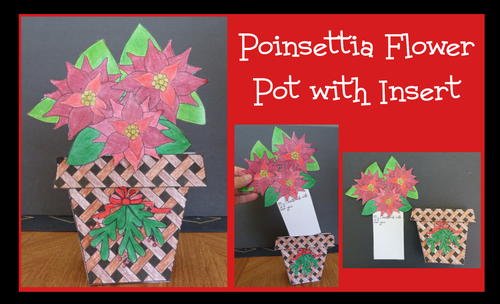 Christmas Crafts - Flower Pot of Poinsettias