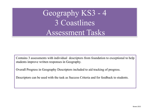 Geography:  Progress Planning and Assessment, Pack of 7 topic areas.