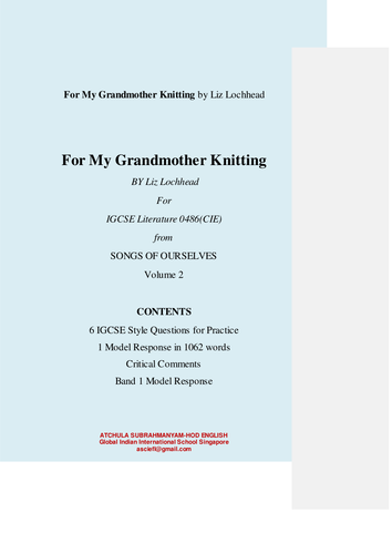 For My Grandmother Knitting by Liz Lochhead