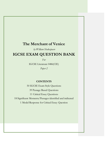 the merchant of venice by william shakespeare igcse exam style the merchant of venice by william shakespeare 50 igcse exam style questions and 1 model response by driveinclouds teaching resources tes