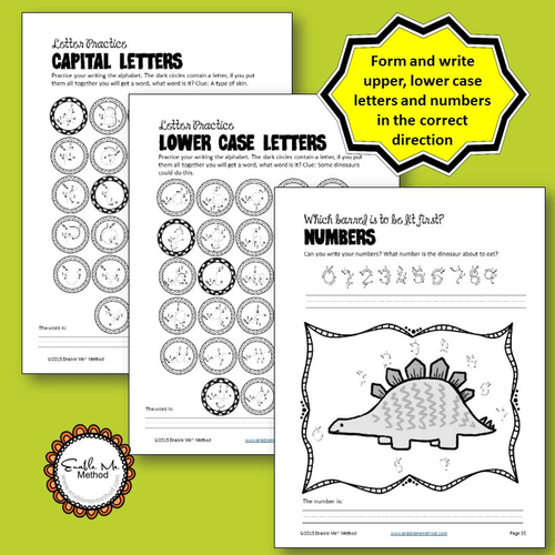 Cursive Alphabet Handwriting Worksheets for 5 - 11 years: Dinosaurs