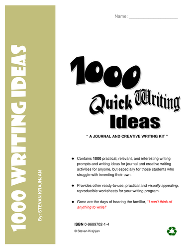 1,000 CREATIVE WRITING IDEAS and LANGUAGE TEMPLATES