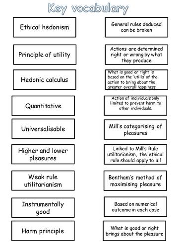 Utilitarianism revision activities