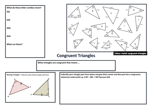 Congruent Triangles Poster Activity By Sugarpopp Teaching