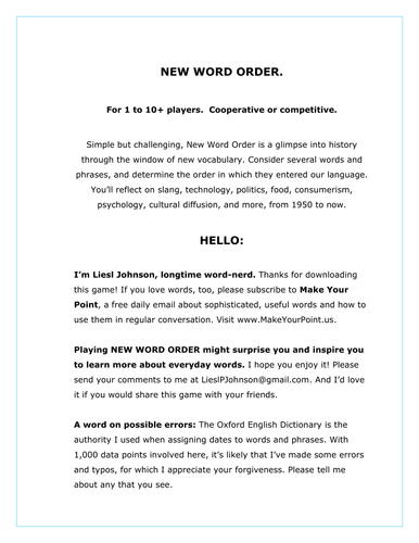 New Word Order
